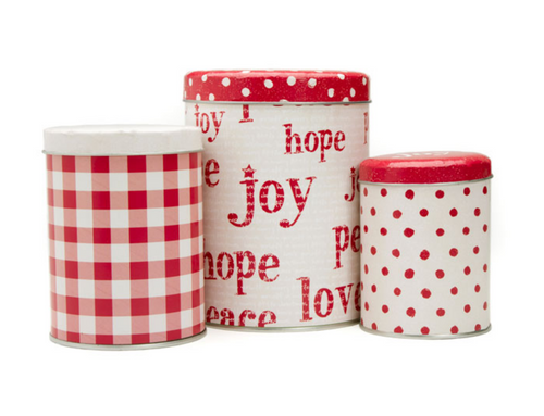 Set of 3 Peace, Joy, Love Christmas Cookie Tins -B