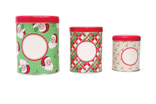 Set of Three Vintage Style Santa Christmas Cookie Tins