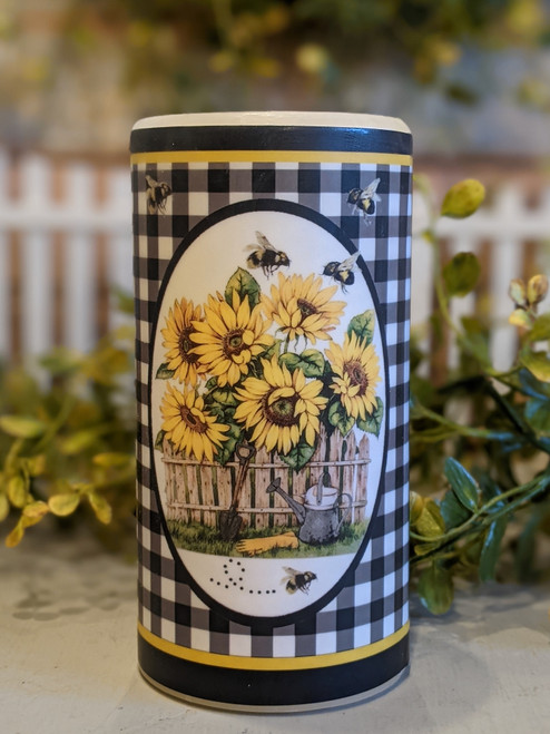 """Sunflowers  & Honey Bees 6"""" Battery Operated Pillar Candle"""