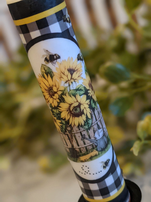 Sunflowers & Honey Bees LED Battery Operated Taper Candle - B