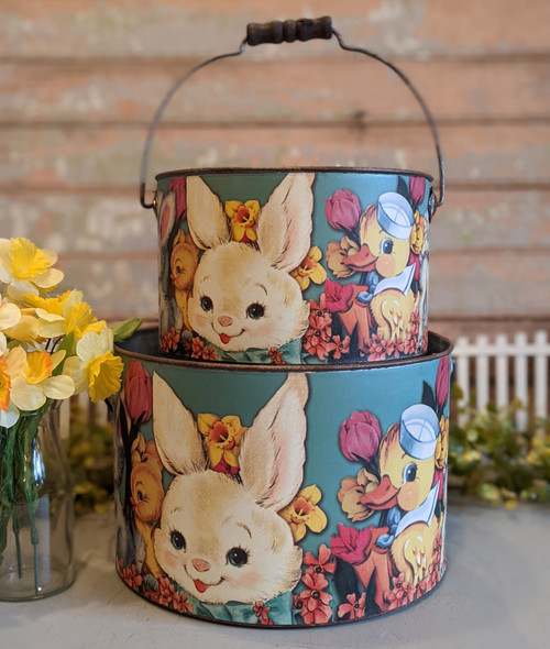 Set of Two Vintage-Style Easter Buckets - B