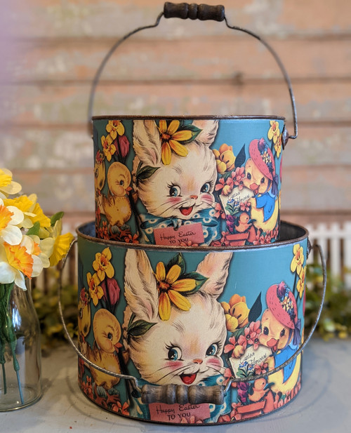 Set of Two Vintage-Style Easter Buckets - A