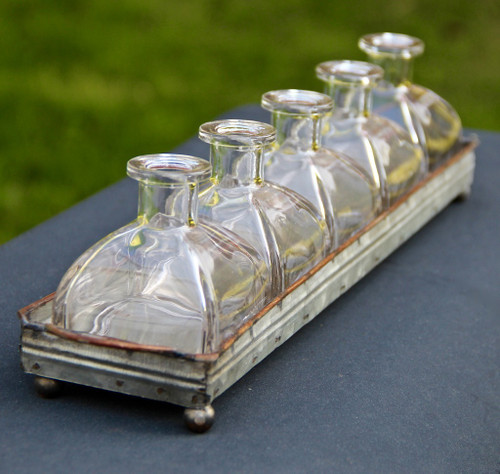 Farmhouse Metal Tray with Flower Bottle Vases -A