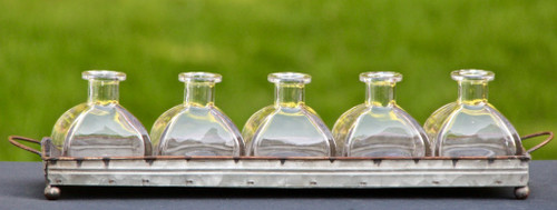 Farmhouse Metal Tray with Flower Bottle Vases - B