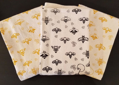 Hand-Printed Honeybees Flour Sack Tea Towel in Black & Gold