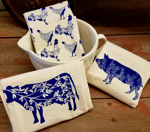 Summer Cows Flour Sack Tea Towel (BLUE)