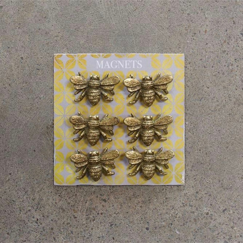 Set of Six Cast Pewter Painted Bee Magnets on Neutral