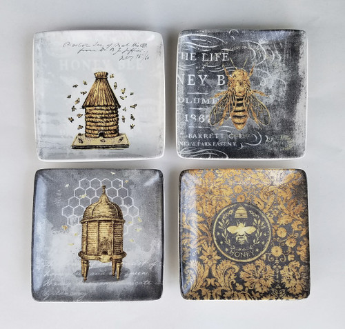 Set of Four Mini Stoneware Bee Plates