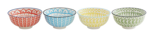 """Set of Four Hand-Painted Bowls 4.5"""" Diameter"""
