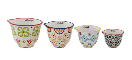 Set of Four Hand-Painted Measuring Cups - Floral Design - A