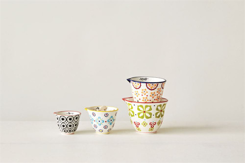 Set of Four Hand-Painted Measuring Cups - Floral Design - B
