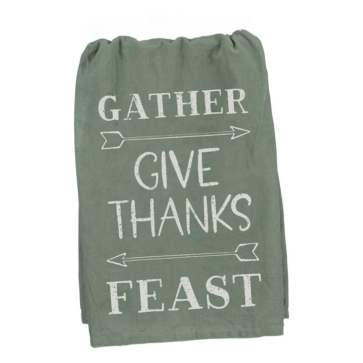 Gather, Give Thanks, Feast Thanksgiving Kitchen Towel