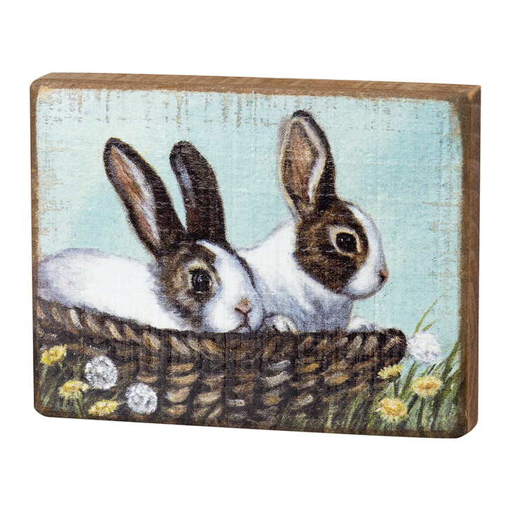 Springtime Bunnies in a Wicker Basket Box Sign