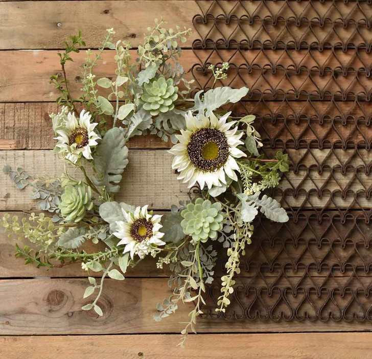 Sunwashed Succulent & Sunflower Candle Ring or Wreath