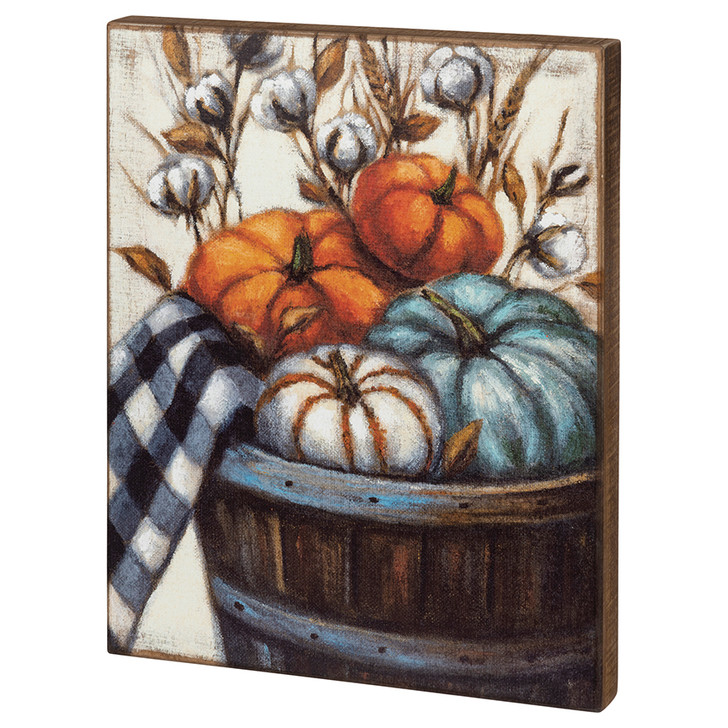 Multi-Colored Pumpkins in a Barrel Large Wooden Box Sign