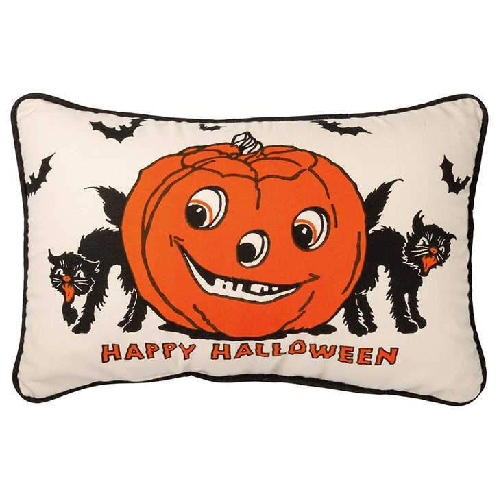 Happy Halloween Accent Pillow with Jack 'O Lantern & Black Cats FRONT