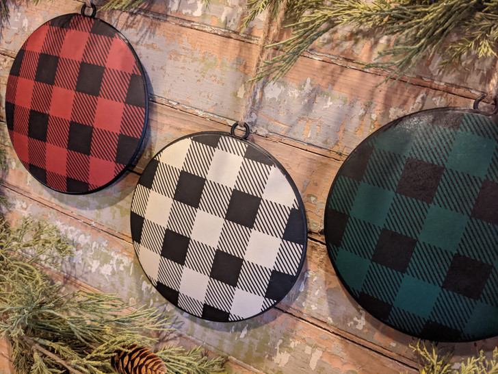 Set of Three Red, Cream & Green Buffalo Check Disc Ornaments - A