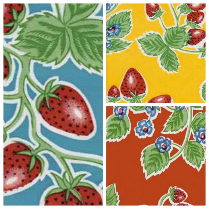 Square Oilcloth Tablecloth Vintage Style Strawberries Pattern