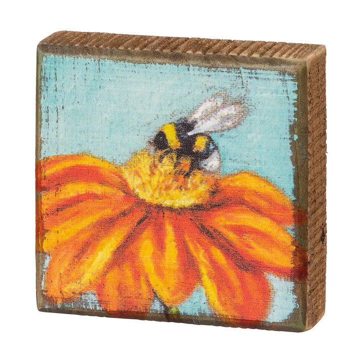 Pollinate! Honey Bee & Mexican Sunflower Tiny Block Sign
