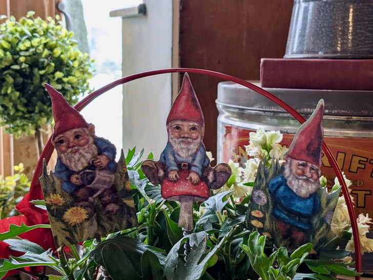 Set of Three Metal Garden Gnome Plant Picks Garden Stakes - A