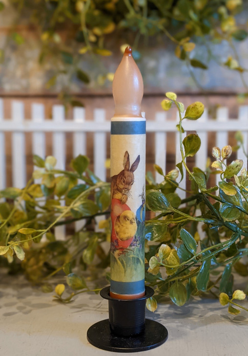 LED Battery Operated Taper Candle Easter Bunny, Chick, Easter Eggs