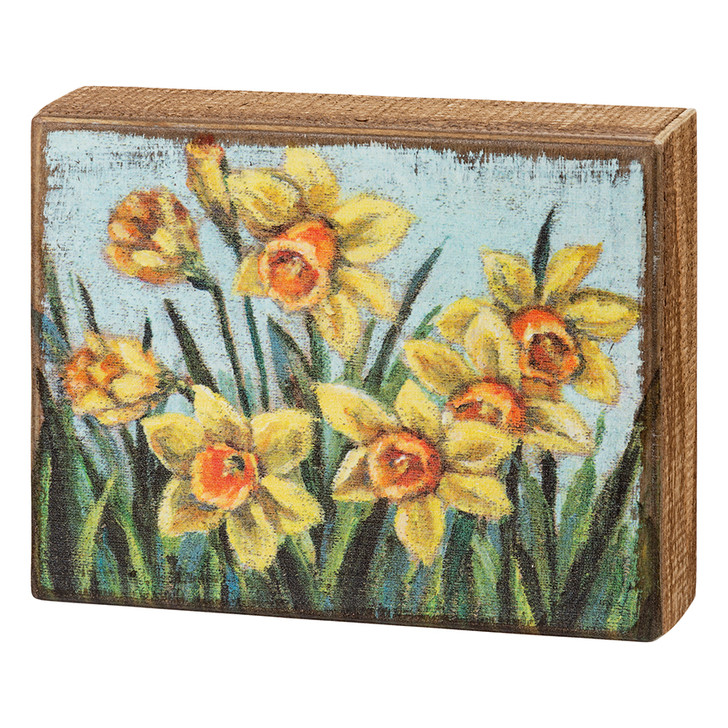 Springtime Daffodils Rustic Wooden Box Sign