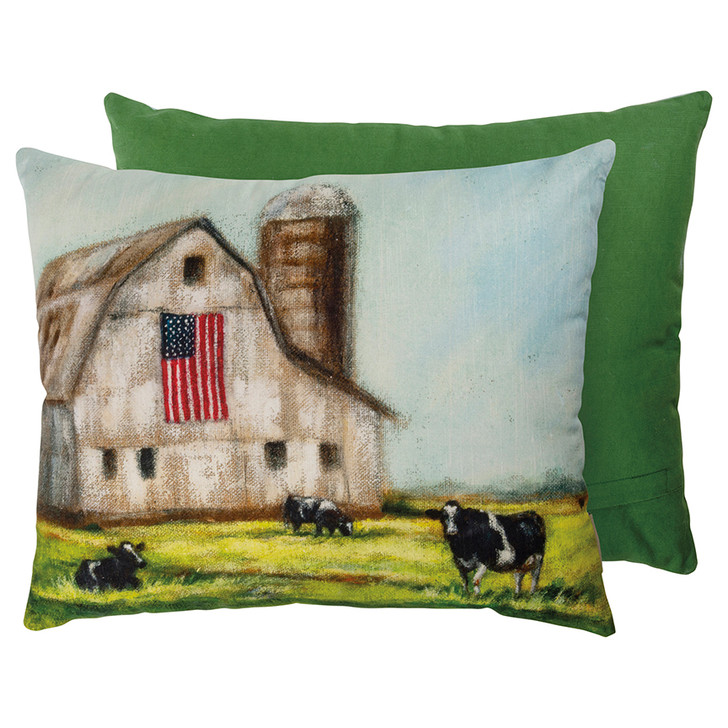 Americana Barn with US Flag Accent Pillow - A