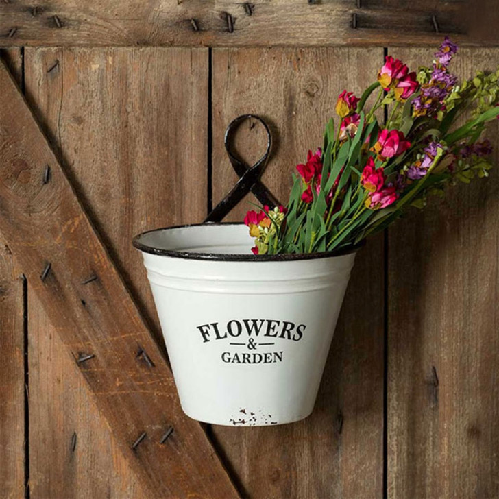 Distressed Painted Metal Flowers & Garden Wall Bucket Planter