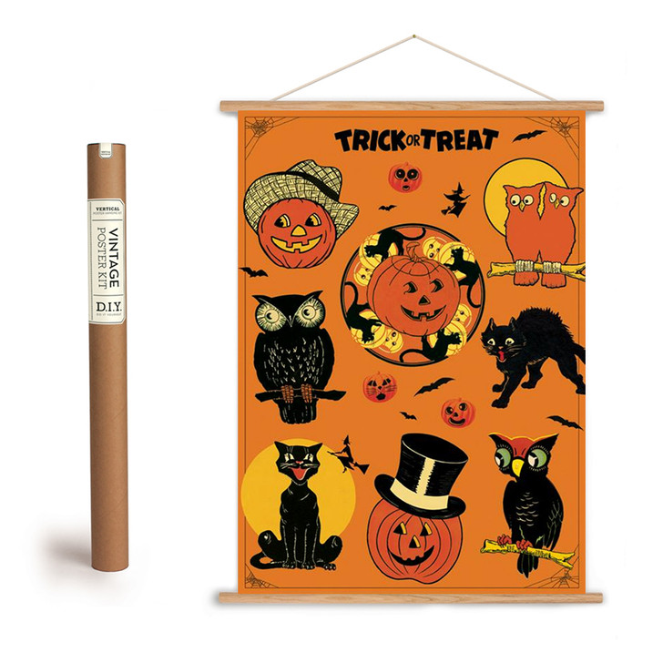 Trick or Treat Vintage-Style Halloween Art Poster + Hanging Kit - A