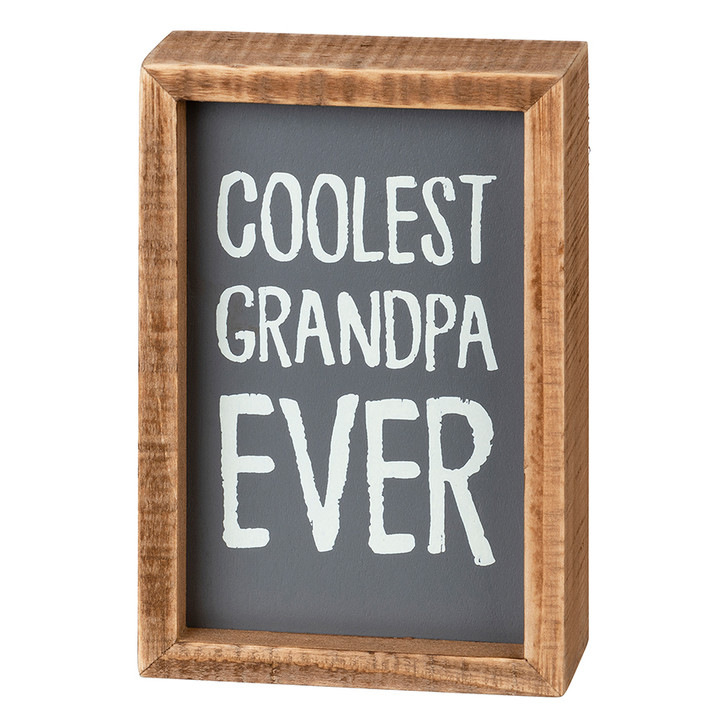 Coolest Grandpa Ever Inset Wooden Box Sign