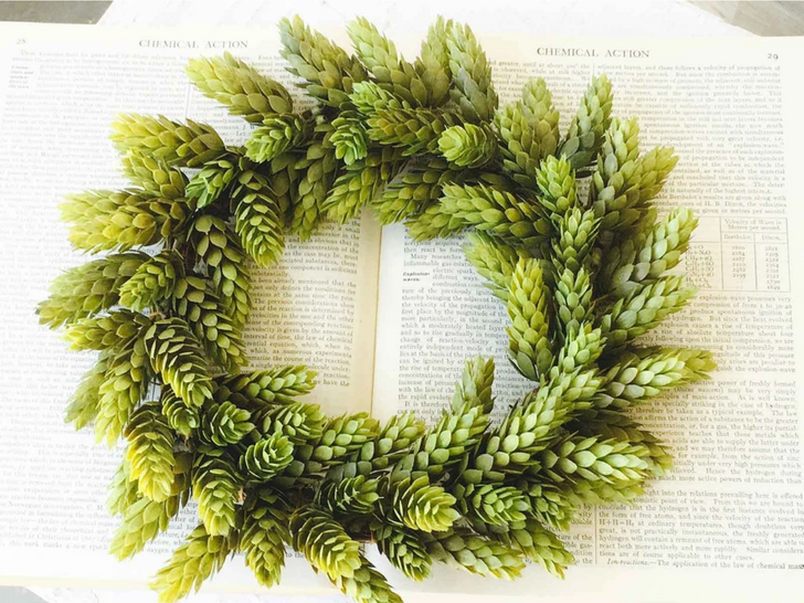 """11"""" Remarkably Realistic Green Faux Hops Candle Ring or Wreath"""