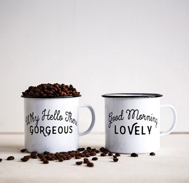 Pair of Lovely & Gorgeous 20 oz Enamelware Mugs - A