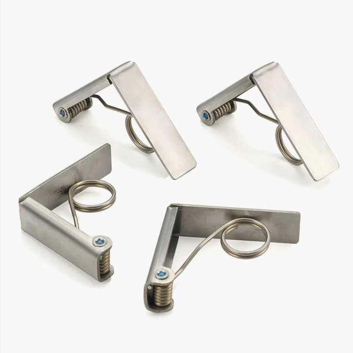 Set of Four Stainless Steel Tablecloth Clips  - A