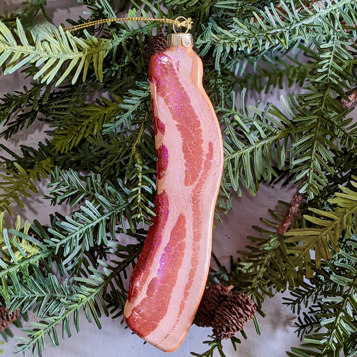 Glittered Glass Bacon Christmas Ornament - A