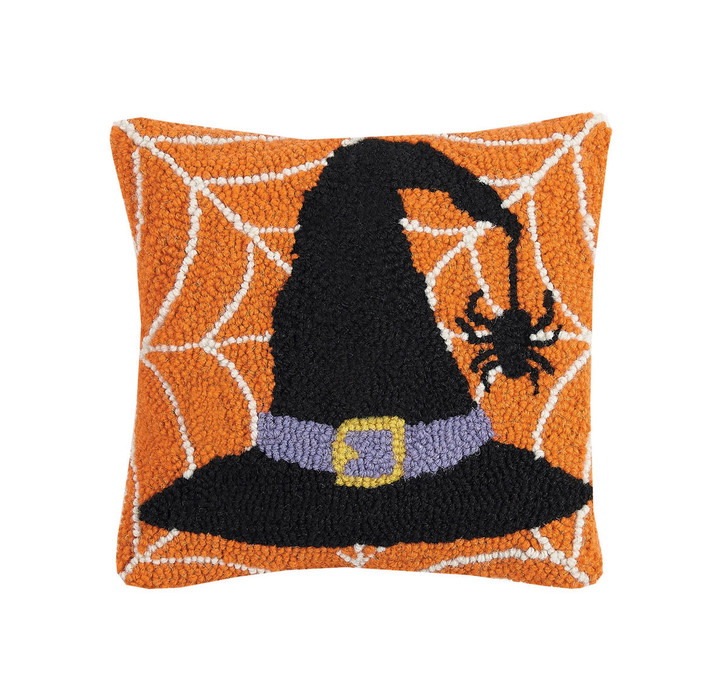 Festive Halloween Witches' Hat Hooked Rug Pillow - A