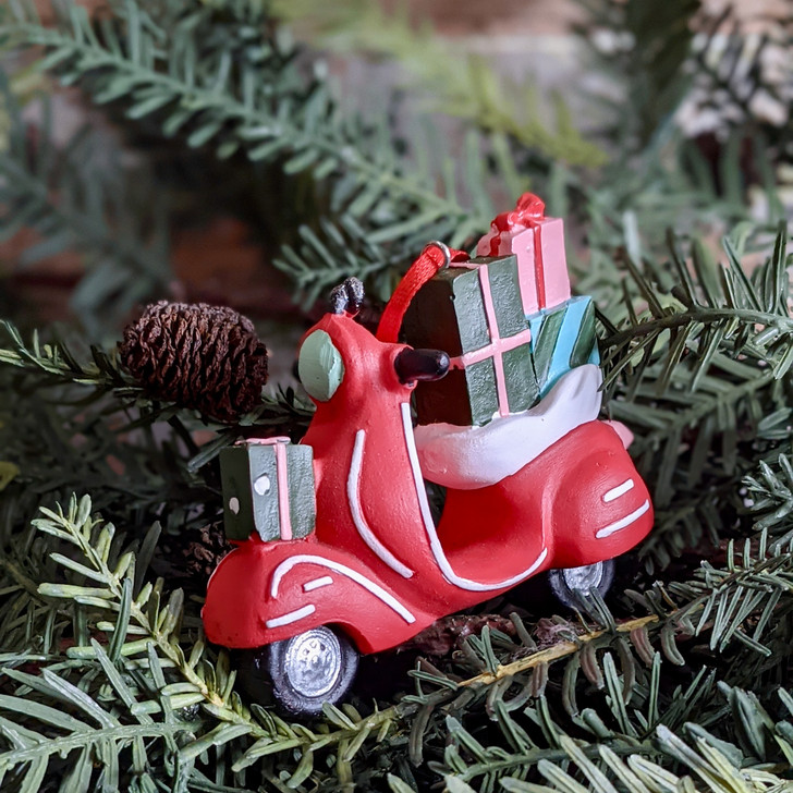 Cast Resin Red Vespa Motor Scooter Christmas Ornament