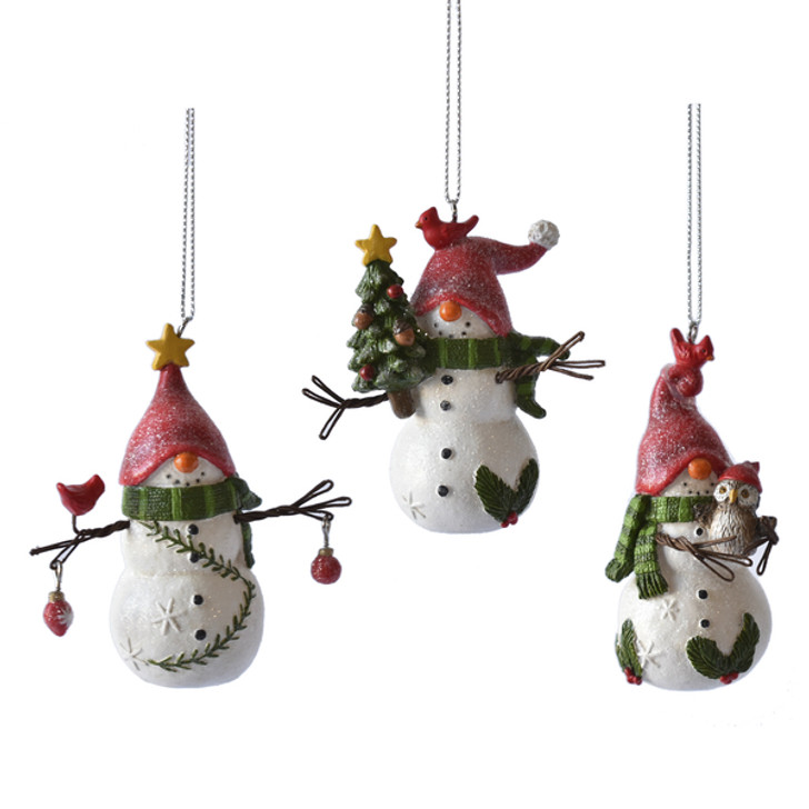 Adorable Snowman Gnome Christmas Ornament CHOICE of Styles - A