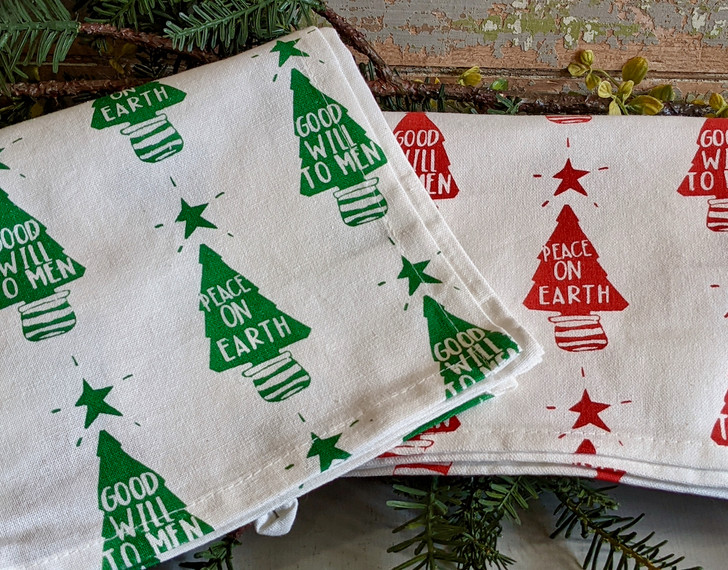 Set of Two Festive Christmas Tea Towels Peace on Earth Goodwill to Men - A