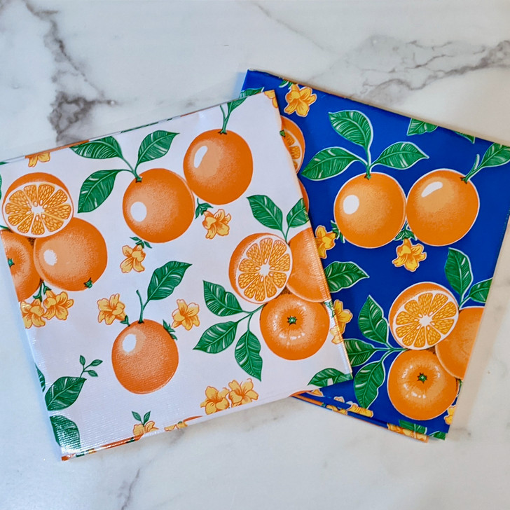 Vintage Style Oranges Oilcloth Tablecloth Choice of Background Color