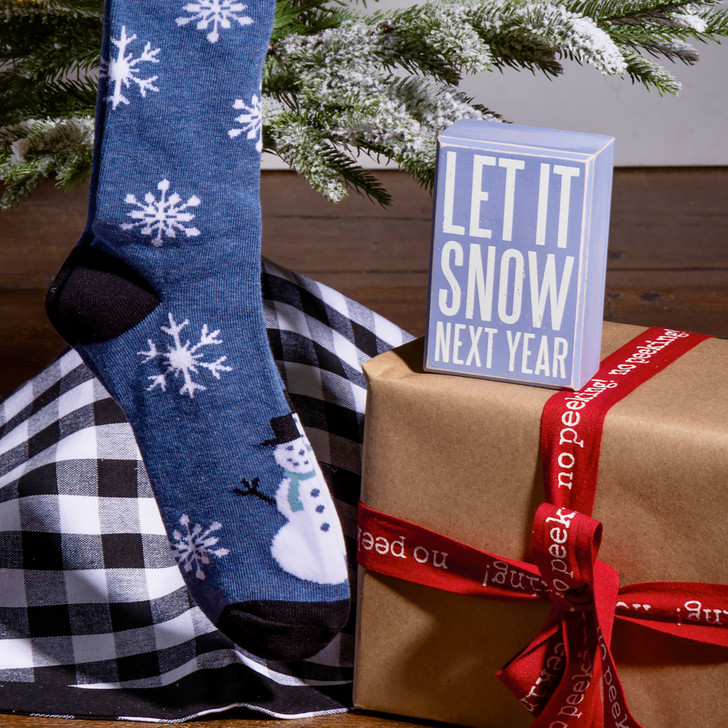 Let it Snow Next Year - Box Sign & Socks Gift Set - A