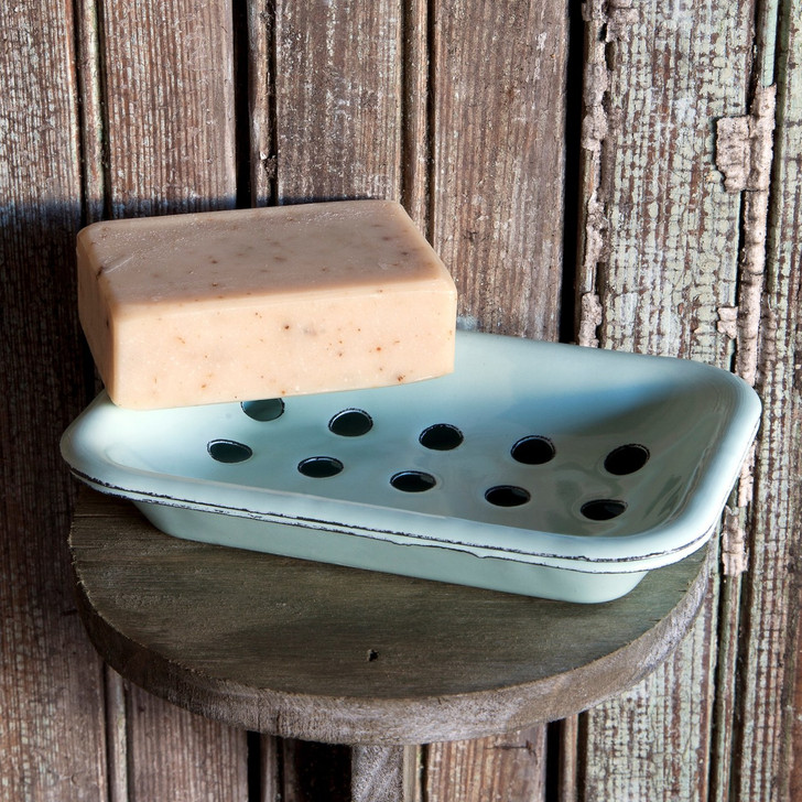 Distressed Blue 2-PiececFarmhouse Enamelware Soap Dish