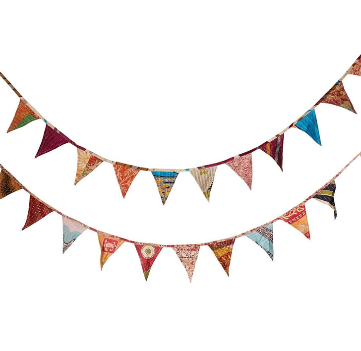 Hand-Made Boho Kantha Quilt Bunting Garland Extended