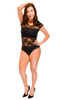 Top - Bodysuit, Lace, Short Sleeve