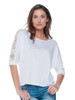 Elan USA 3/4 Length Sleeve Top with Back Lacing