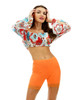 Vivian's Fashions Floral Cropped Blouse