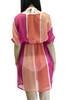 Pink Lady Swimsuit Cover Up with White Piping V neck (One Size, Regular and Plus)