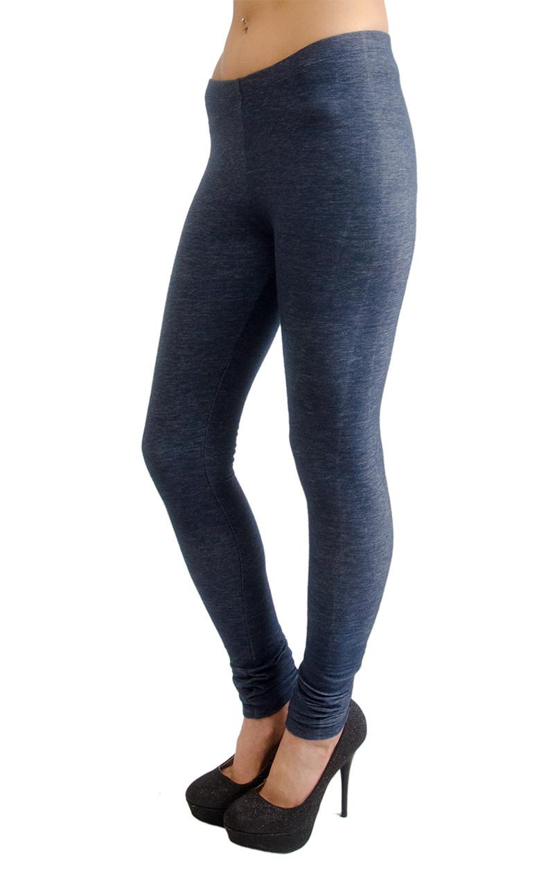 08dea928c96249 Vivian's Fashions Long Leggings - Knit Denim (Junior and Junior Plus Sizes)  - Vivian's Fashions