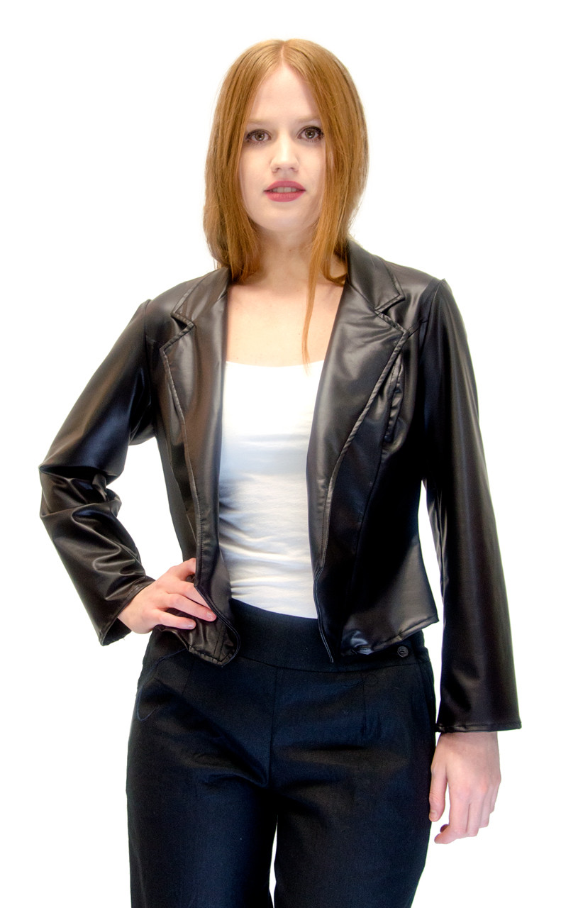 de4105c958e Vivian s Fashions Jacket - Liquid Leather Basic Jacket - Vivian s Fashions