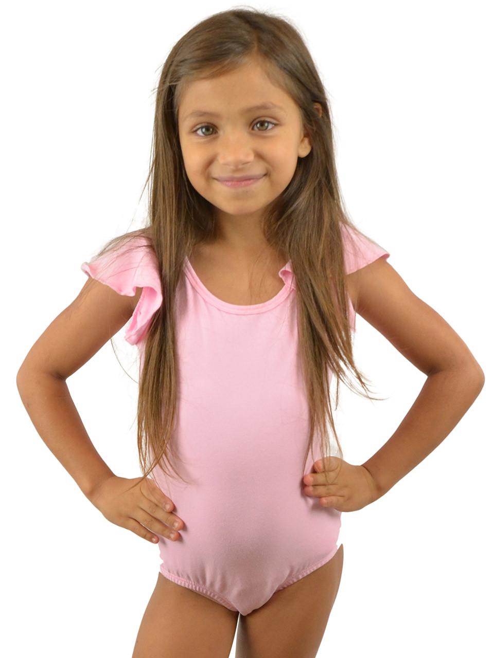 69bb300e0 Vivian s Fashions Dancewear - Girls Ruffle Peplum Sleeves leotard ...