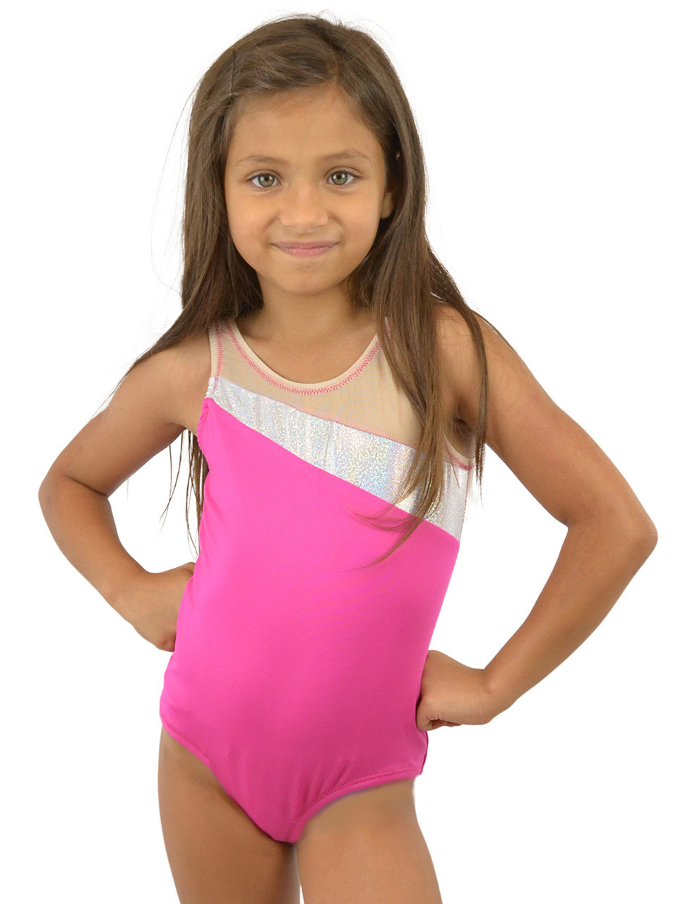 83390f986d4 Vivian s Fashions Dancewear - Girls Glitter Panel Sleeveless Leotard ...